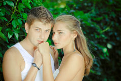 Young happy couple man and woman on date Stock Photos