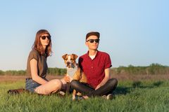 Young happy couple of man and woman with staffordshire terrier d stock photo