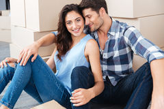 Young happy couple moving into their new home Royalty Free Stock Image