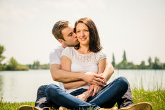 Young happy couple in nature Royalty Free Stock Photos