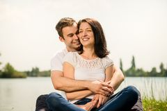 Young happy couple in nature Royalty Free Stock Images
