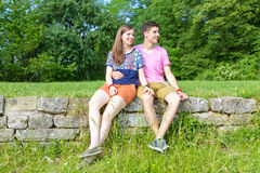 Young, happy couple in the nature Stock Photos