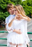 Young happy couple outdoor Royalty Free Stock Image