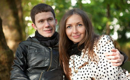 Young happy couple outdoors. At fall royalty free stock image