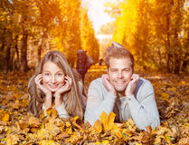 Young happy couple outdoors Stock Photos