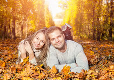 Young happy couple outdoors Stock Image