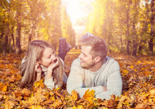 Young happy couple outdoors Stock Photo
