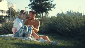 Young happy couple outdoors Royalty Free Stock Photos