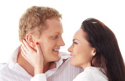 Young happy couple over white background Stock Images