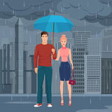Young Happy couple pair standing under the umbrella in the street in dark grey rainy day vector illustration. Royalty Free Stock Images