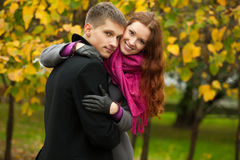 Young happy couple in the park Royalty Free Stock Images