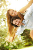Young happy couple in the park Stock Photography