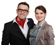 Young Happy Couple. Portrait of a young happy couple isolated against a white background Stock Image