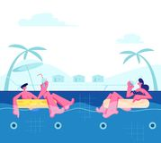 Young Happy Couple Relaxing on Resort, Floating at Inflatable Rings in Swimming Pool and Drinking Cocktails. Tropical Vacation. Sparetime, Summertime Leisure stock illustration