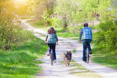 Young happy couple ride bicycles. In the village back to camera. Dog running nearby Stock Images