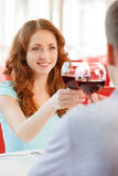 Young happy couple at romantic date. Stock Photo
