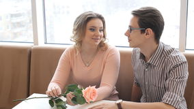 Young happy couple on a romantic date stock video footage