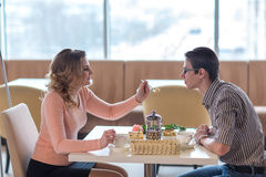 Young happy couple on a romantic date Royalty Free Stock Photo