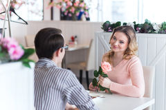 Young happy couple on a romantic date Stock Image