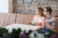 Young happy couple on a romantic date Stock Images