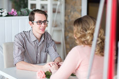 Young happy couple on a romantic date Royalty Free Stock Image