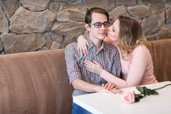 Young happy couple on a romantic date Royalty Free Stock Photos