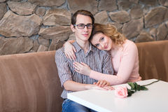 Young happy couple on a romantic date Stock Photo
