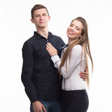 Young happy couple showing presentation pointing on placard Royalty Free Stock Image