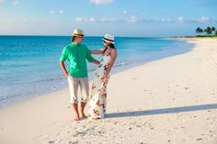 Young happy couple on summer tropical vacation Stock Photos