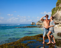 Young happy couple on vacation Stock Images