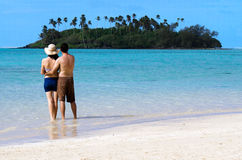 Young happy couple on Vacation in Pacific Island Stock Photo