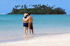 Young happy couple on Vacation in Pacific Island Stock Photos