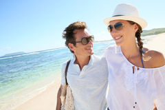 Young happy couple on vacation on the seaside Royalty Free Stock Images