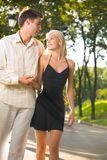 Young happy couple walking Stock Photography