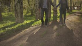 Young happy couple walking in city park, enjoying romantic date outside. Young couple walking in Park at sunset stock video