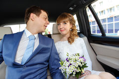 Young happy couple on the way to registry office Royalty Free Stock Photo