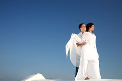 Young happy couple in white Royalty Free Stock Photography