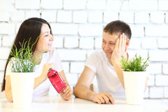 Young happy couple in a white t-shirt Royalty Free Stock Photography