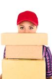 Young happy delivery woman holding package Royalty Free Stock Photo
