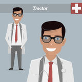 Young happy doctor glasses. Vector illustration. Young happy doctor glasses. Character  illustration Stock Photos