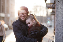 Young happy european couple. Young smiling happy european couple hugging in winter Stock Image