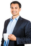 Young happy executive having his coffee royalty free stock images