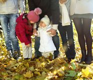 Young happy family in autumn forest Stock Photos