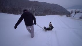 Young happy family having fun playing in a snowy forest. Father rolls his little son on a sled. An evening walk. Dad and stock video