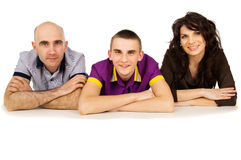 Young happy family lying isolated Stock Photos