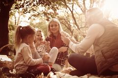 Young family on picnic in park. Young happy family on picnic in park stock images