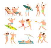 Young and happy family on sunny beach. Vector people character on summer vacation royalty free illustration