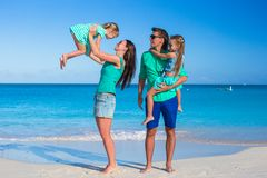 Young happy family with two kids on summer Royalty Free Stock Images