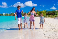 Young happy family with two kids on summer Royalty Free Stock Photos
