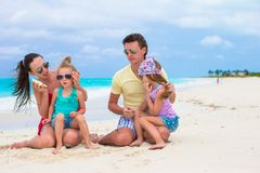 Young happy family with two kids on summer Stock Photo